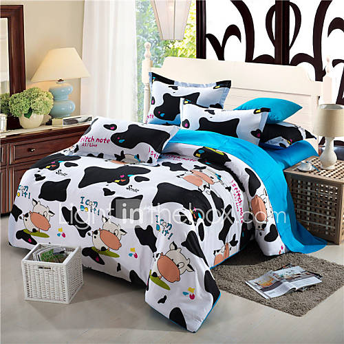 Flash Sale Bedding Set Dairy Cow Print Bedding Kawaii