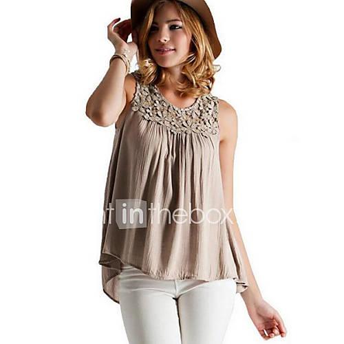 vrouwen-street-chic-zomer-blouse-casual-dagelijks-effen-ronde-hals-mouwloos-zwart-grijs-katoen-medium