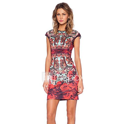 vrouwen-vintage-schede-bloemen-jurk-tot-de-knie-ronde-hals-polyester