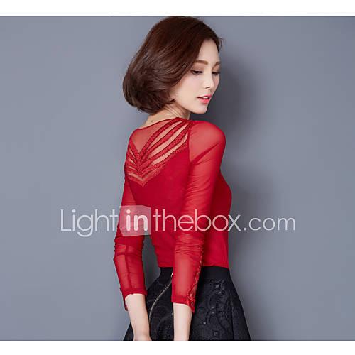 vrouwen-eenvoudig-lente-t-shirt-casual-dagelijks-effen-v-hals-lange-mouw-roze-rood-zwart-nylon-spandex-overige-medium