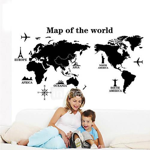 seinä tarroja Seinätarrat, tyyli musta maailmankartalla