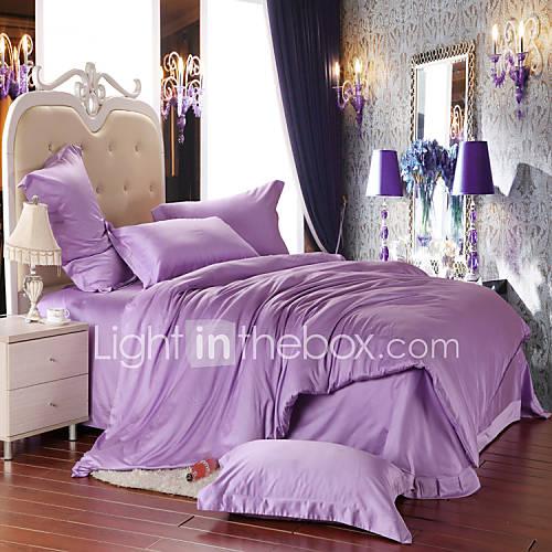 Light purple 100 tencel soft bedding sets queen king size - Light purple comforter set ...
