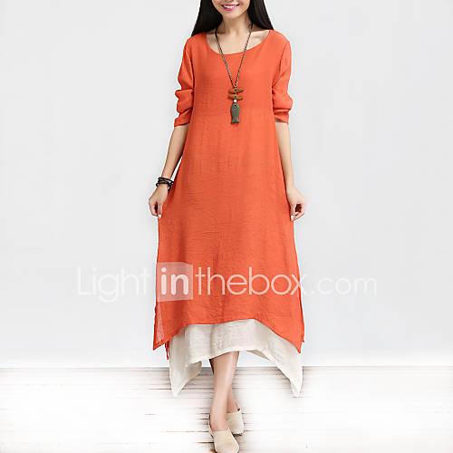De las mujeres Corte Ancho Vestido Vintage / Casual Un Color / Retazos Asimétrico Escote Redondo Algodón / Lino Descuento en Lightinthebox