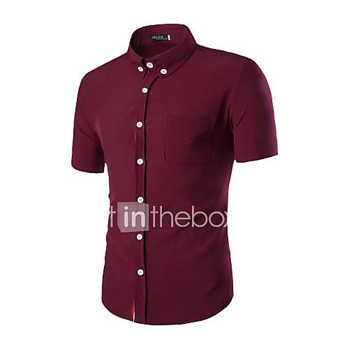 Masculino Camisa Escritório / Formal Cor Solida Manga Curta Algodão Preto / Azul / Vermelho / Branco