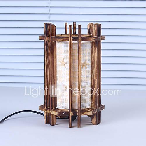 Creatieve hout de schelpen cilindrische lamp container decoratie bureaulamp slaapkamer lamp - Slaapkamer hout ...