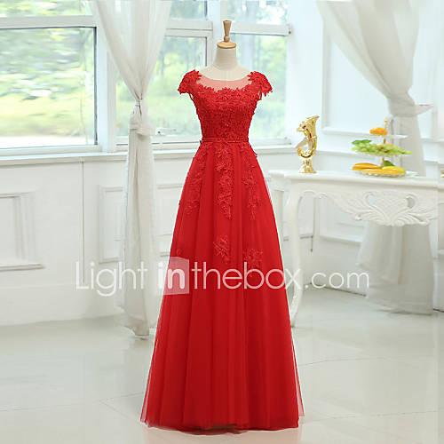 Hasta el Suelo Satén / Tul Vestido de Dama de Honor Funda / Columna Cuchara con Apliques / Cuentas Descuento en Lightinthebox