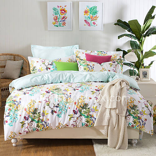charming flowers high end full cotton reactive printing pattern bedding set 4pc queen full. Black Bedroom Furniture Sets. Home Design Ideas