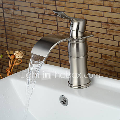 fashion single handle one hole nickel brushed bathroom sink faucet