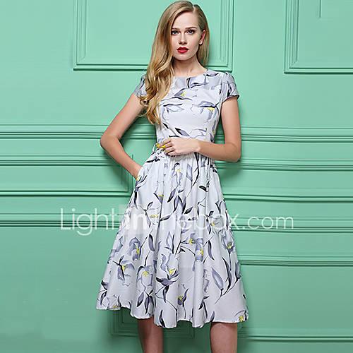 vrouwen-vintage-schede-print-jurk-tot-de-knie-ronde-hals-polyester
