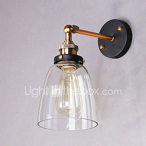 glass wall sconce metal base cap dining room study room office