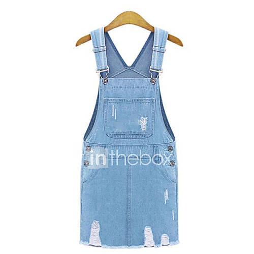vrouwen-casual-dagelijks-grote-maten-eenvoudig-recht-jurk-effen-bandje-boven-de-knie-mouwloos-blauw-katoen-zomer