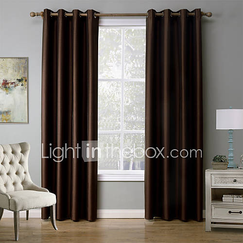 One Panel Modern Solid Black Red Coffee Bedroom Polyester Blackout Curtains Drapes 52 Inch