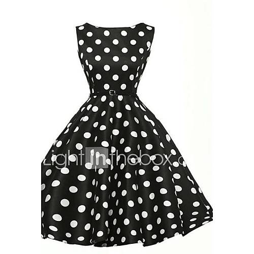 vrouwen-vintage-street-chic-schede-skater-polka-dot-jurk-tot-de-knie-ronde-hals-katoen-polyester