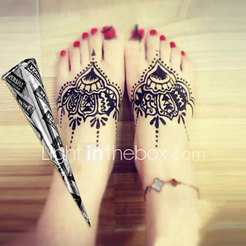 Henna Ink Kit: Halloween 12 * Black* Herbal Henna Cones Temporary Tattoo