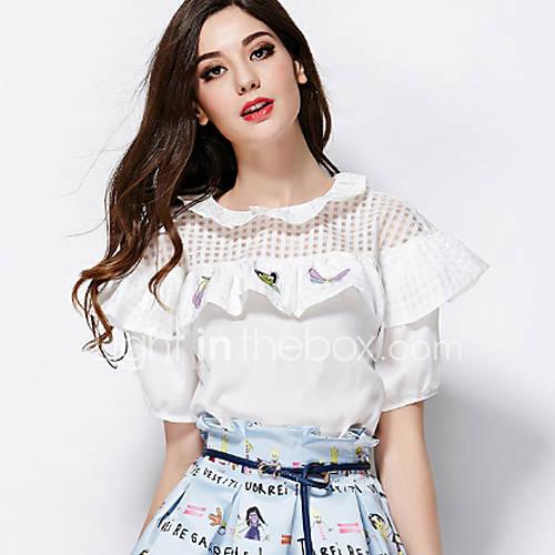 vrouwen-sexy-zomer-blouse-casual-dagelijks-print-ronde-hals-korte-mouw-wit-rayon-polyester-dun