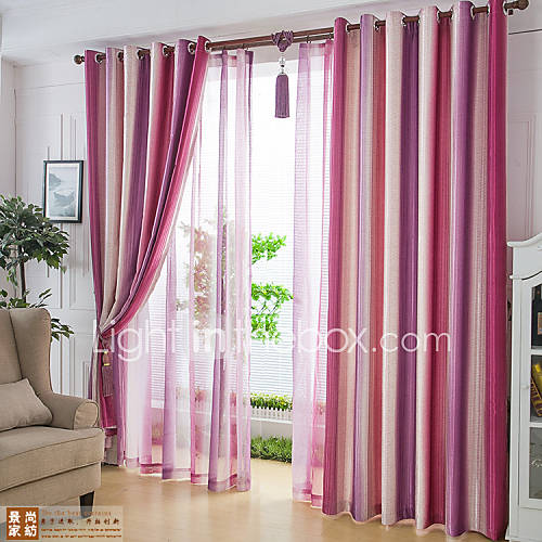 Two Panels Modern Stripe Living Room Polyester Blackout Curtains Drapes 49216