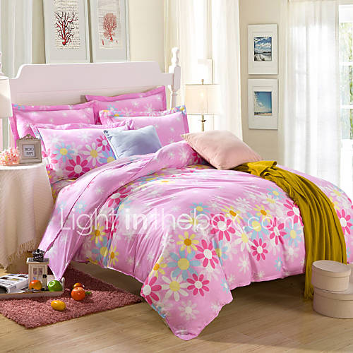 Yellow and pink flowers 100 cotton bedclothes 4pcs - Pink and yellow comforter ...