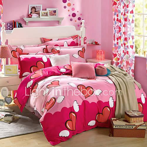 fleur ensembles housse de couette 4 pi ces coton motif imprim coton lit 2 places 39 queen 39 1 x. Black Bedroom Furniture Sets. Home Design Ideas