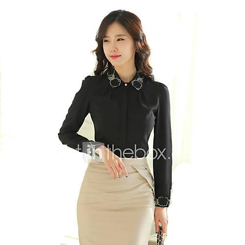 vrouwen-grote-maten-lente-overhemd-casual-dagelijks-effen-peter-pan-kraag-lange-mouw-wit-zwart-polyester-medium