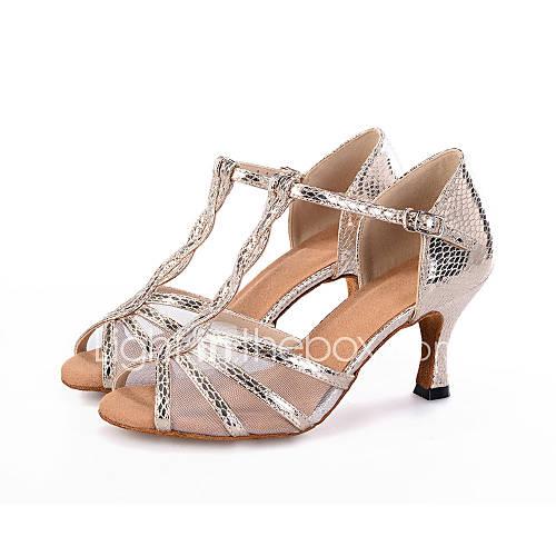 Customizable Women S Dance Shoes Latin Leatherette Flared Heel