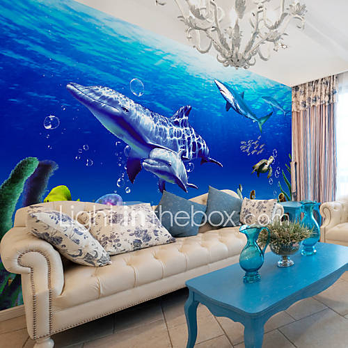 Jammory art deco wallpaper contemporary wall covering non for Dolphin mural wallpaper