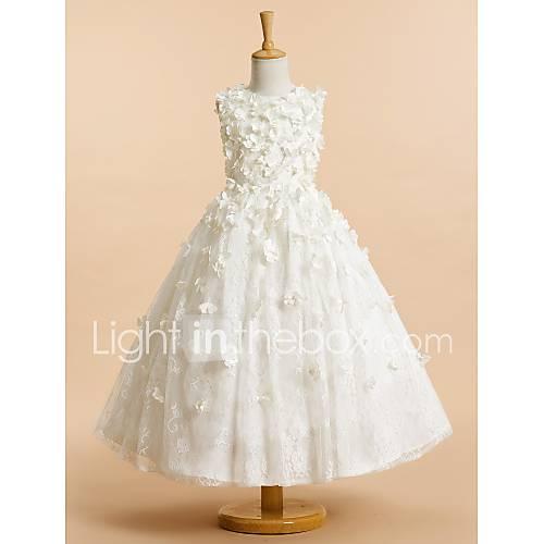 novia lanting  una línea de vestidos de niña de las flores de té de longitud - joya de tul sin mangas con la flor (s) Descuento en Lightinthebox