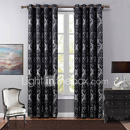 One Panel European Floral Botanical Black Bedroom Polyester Blackout Curtains Drapes 4885461