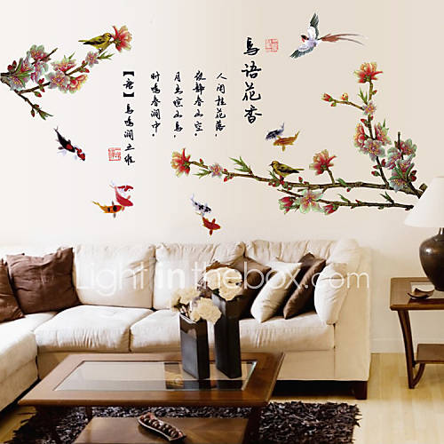 Wall Stickers Wall Decals Style Mountain Birds PVC Wall Stickers