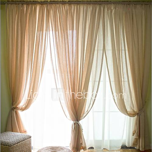 two panels modern solid bedroom linen sheer curtains shades 4936578