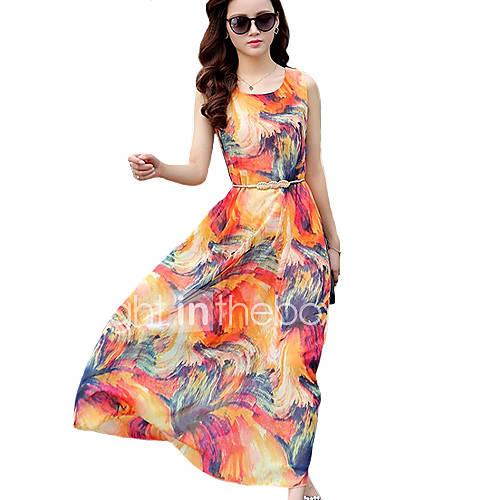 vrouwen-sexy-boho-chiffon-wijd-uitlopend-print-jurk-maxi-ronde-hals-polyester