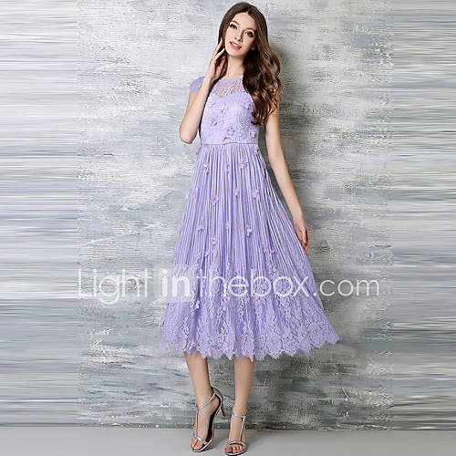 vrouwen-casual-dagelijks-grote-maten-vintage-eenvoudig-kant-jurk-jacquard-ronde-hals-midi-mouwloos-paars-polyester-zomer