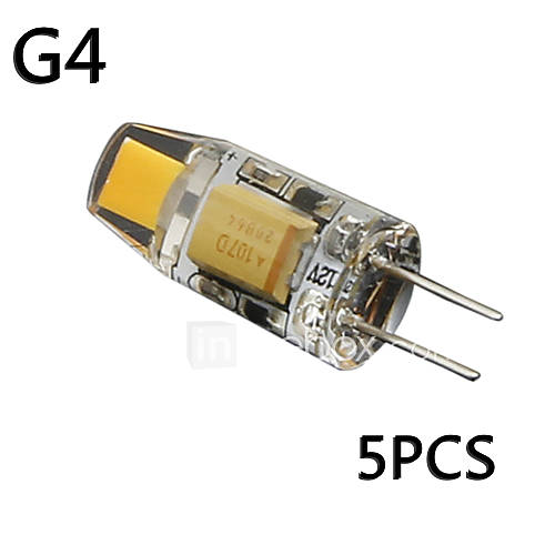 pack of 5 g4 1 5w cob ac dc12v t4 equivalent to 20w halogen track bulb replacement led bulbs. Black Bedroom Furniture Sets. Home Design Ideas