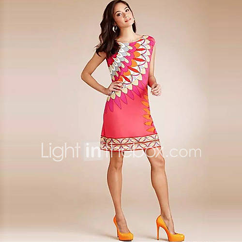 vrouwen-casual-dagelijks-vintage-schede-jurk-print-ronde-hals-boven-de-knie-mouwloos-roze-polyester-alle-seizoenen