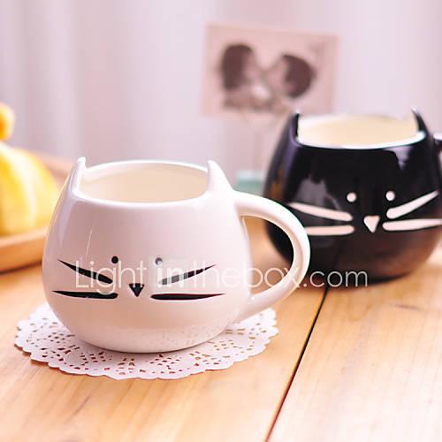 1pc 300ml gato blanco y negro de cerámica de la personalidad linda de la taza sola taza rurales regalos taza amorosas de las sensaciones Descuento en Lightinthebox