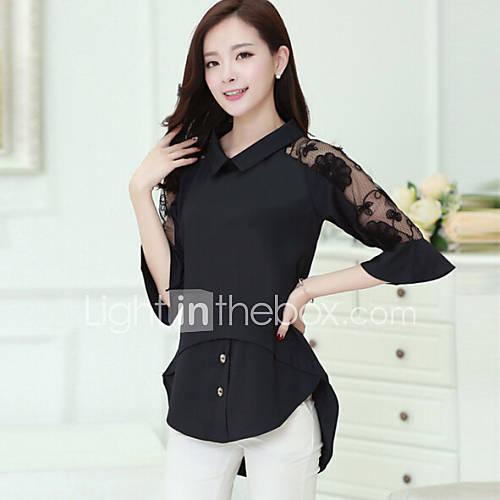 vrouwen-grote-maten-street-chic-lente-blouse-casual-dagelijks-effen-overhemdkraag-halflange-mouw-wit-zwart-nylon-medium