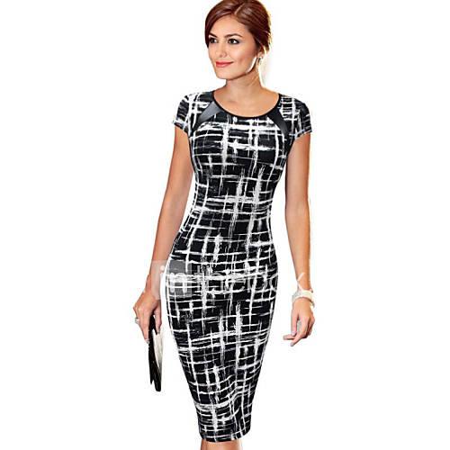 vrouwen-casual-dagelijks-sexy-vintage-bodycon-jurk-print-ronde-hals-tot-de-knie-korte-mouw-zwart-katoen-polyester-zomer
