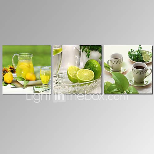 Visual Star 3 Panel Lemon Fruit Canvas Prints Kitchen Room