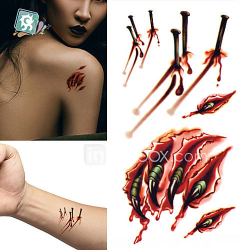 New waterproof temporary tattoo sticker halloween terror for Fake wound tattoos