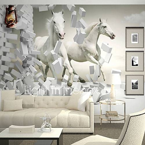 Contemporary 3d shinny leather effect large mural for Equestrian wall mural