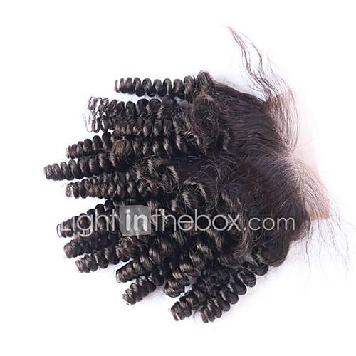 moda Funmi rendas fechamento cabelo encaracolado saltitante 4 4 com nós descorados