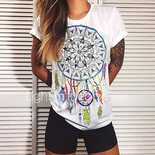 Vrouwen Eenvoudig / Street chic Zomer T-shirt,Casual/Dagelijks Print Ronde hals Korte mouw Wit Polyester Medium
