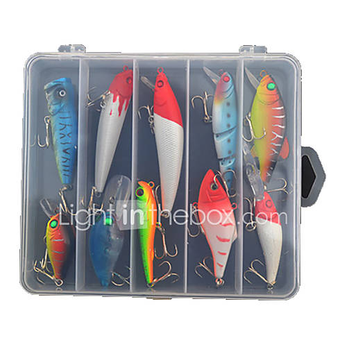 "10 pcs Hard Bait Lure kits Fishing Lures Crank Hard Bait Spoons Lure Packs Minnow Pencil Vibration/VIB g/Ounce mm/4"" inchHard PlasticSea"