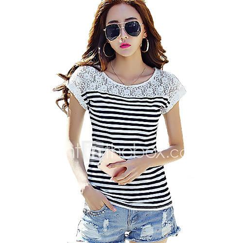 vrouwen-eenvoudig-street-chic-t-shirt-uitgaan-gestreept-ronde-hals-korte-mouw-wit-zwart-katoen-rayon-dun