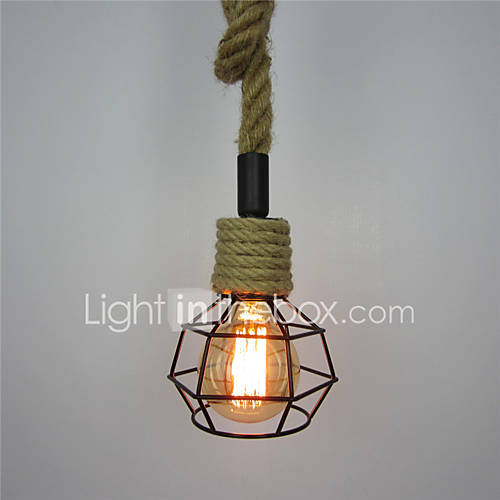 Retro Creative Diy Hemp Rope Pendant Lights Wrought Iron