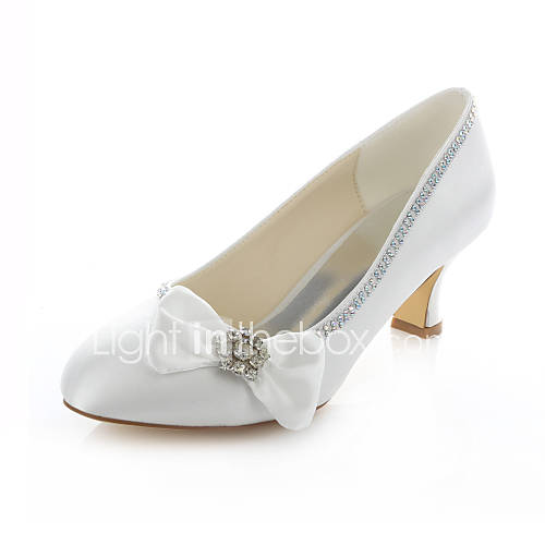 Chunky Wedding Heels: Women's Shoes Stretch Satin Chunky Heel Heels / Round Toe