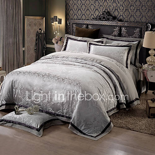 Black and gray queen king size bedding set luxury silk for Luxury cotton comforter sets