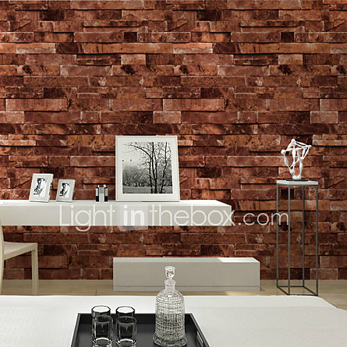 Haokhome vintage faux stone textured wallpaper red multi for 3d brick wall covering