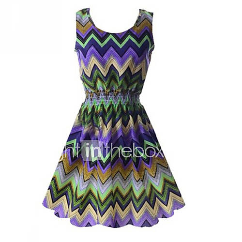 ronde-hals-polyester-geplooid-boven-de-knie-vrouwen-jurk-mouwloos