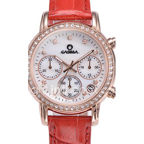 Casima women s watch stainless steel leather quartz fashion casual luxury rhinestone crystal for Casima watches