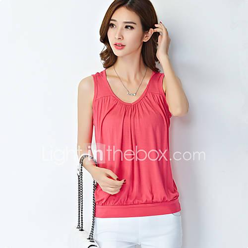 vrouwen-grote-maten-eenvoudig-zomer-t-shirt-casual-dagelijks-effen-ronde-hals-mouwloos-rood-zwart-paars-katoen-spandex-dun